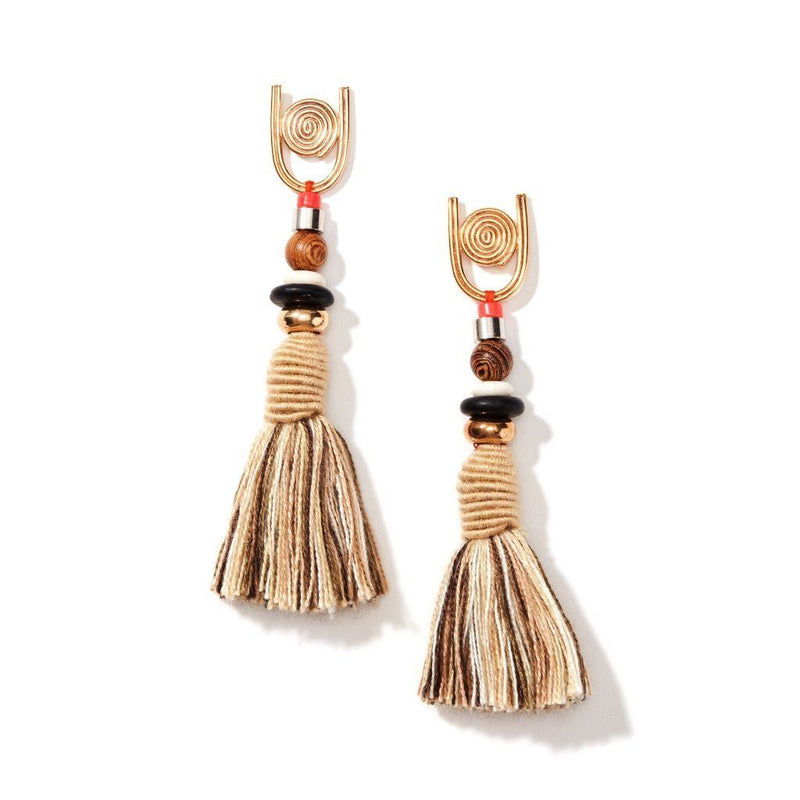 Womens 18K Gold Plated Howlite Gemstone Silk Tassel Earrings. Women - Jewelry - Earrings