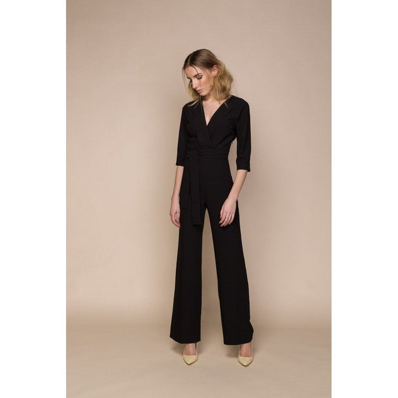 Womens Black Jumpsuit With Plunging Neckline Women - Apparel - Jumpsuits/rompers
