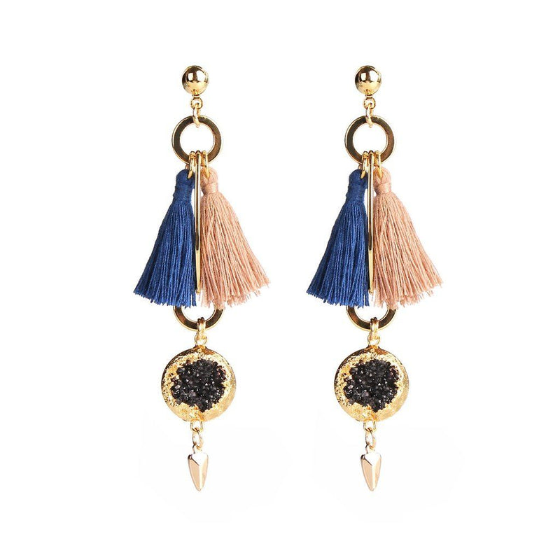 Womens Gold Plated Magnolia Blue & Peach Tassel Earrings. Women - Jewelry - Earrings