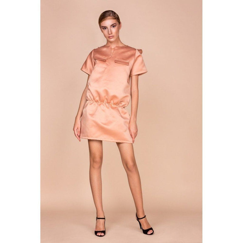 Womens Oversized Nude Mini Dress With Swarovski Crystal Detailing. Women - Apparel - Dresses - Casual
