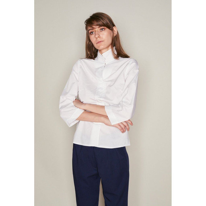Womens White Cotton Asymmetric Collar Shirt Women - Apparel - Shirts - Blouses