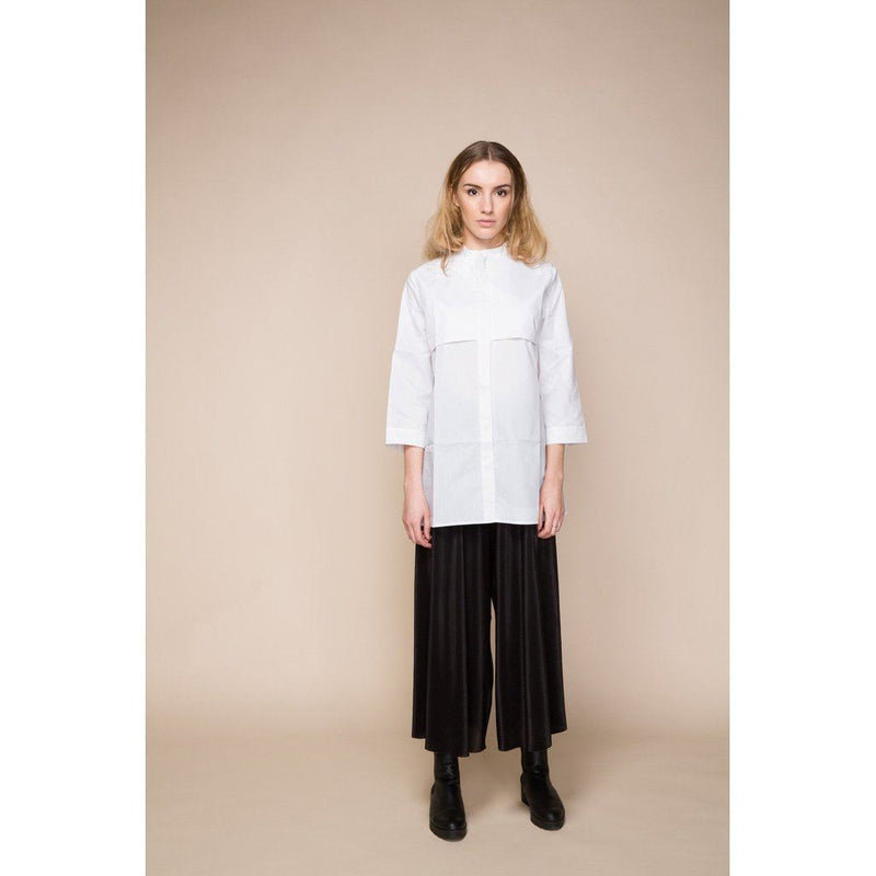 Womens White Long Cotton Shirt With Grandad Collar Women - Apparel - Shirts - Dress
