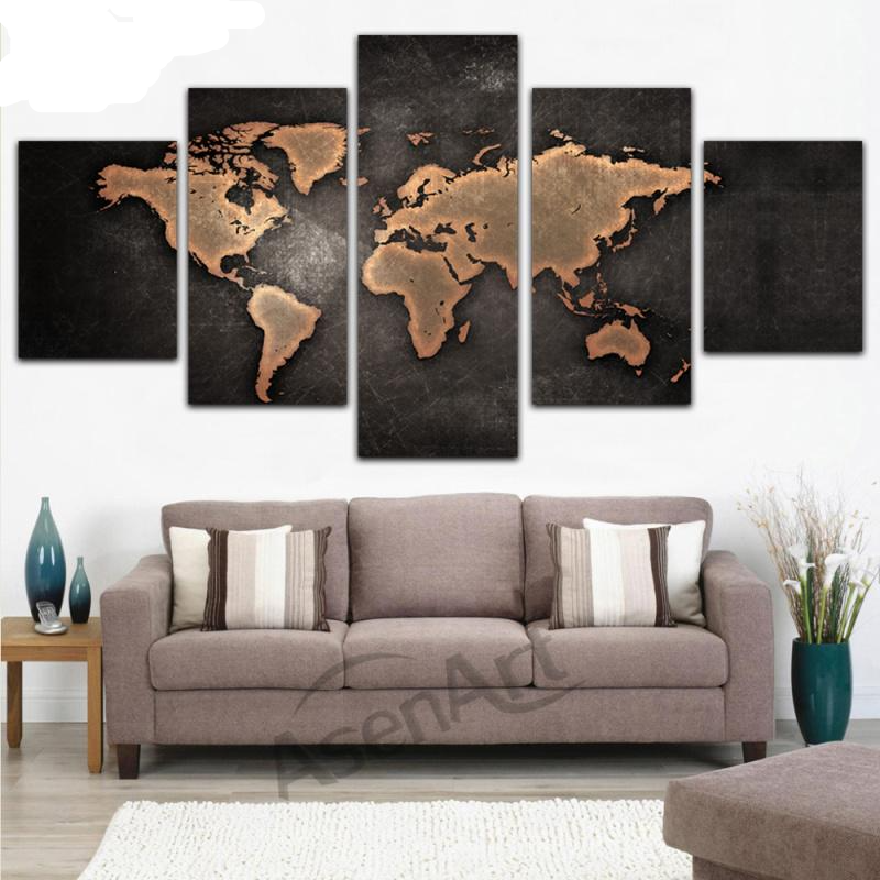 Retro world map canvas framed painting mcm lux design retro world map canvas framed painting gumiabroncs Images