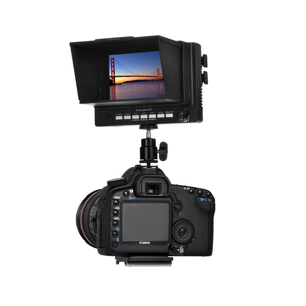 MustHD 5-inch Economical LCD HDMI Field Monitor with HDMI In/Out Focus  Assist Marker False Color (M501H)