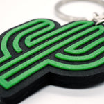 Cactus Rubber Key Chain Raised Graphic
