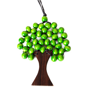 green bead wooden tree necklace