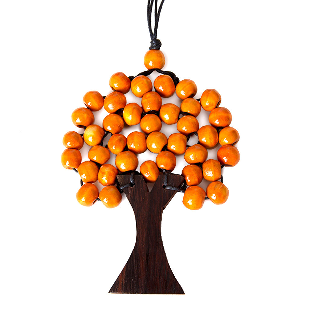 wooden tree necklace orange