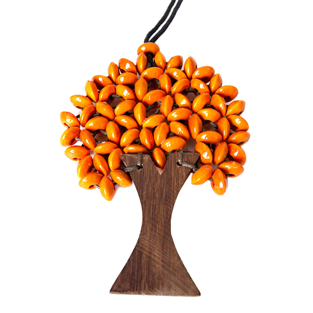 leafy orange saucer bead wooden tree necklace