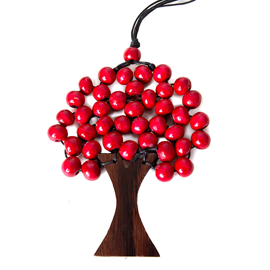 red bead wooden tree necklace