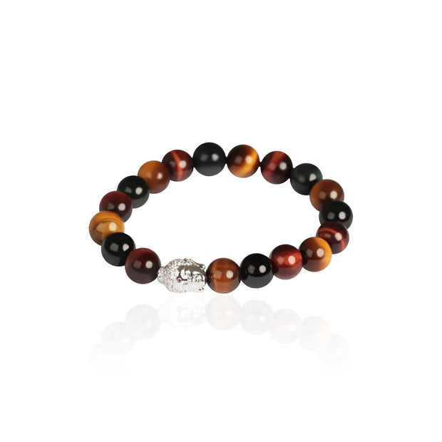 Buddha Tiger Eye Bead Men's Bracelet