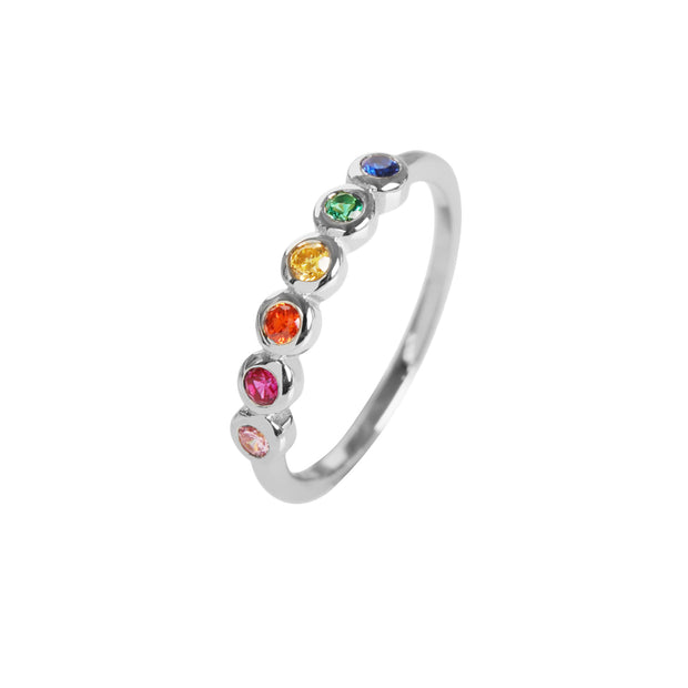 Rainbow Bezel Ring