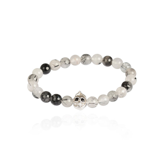 Grim Black Rutilated Quartz Bead Men's Bracelet