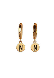 Initial Disc Huggie Earrings