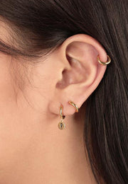Initial Disc Huggies Earring