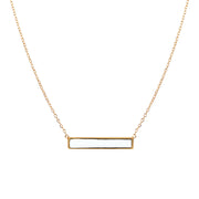 White Block Bar Necklace