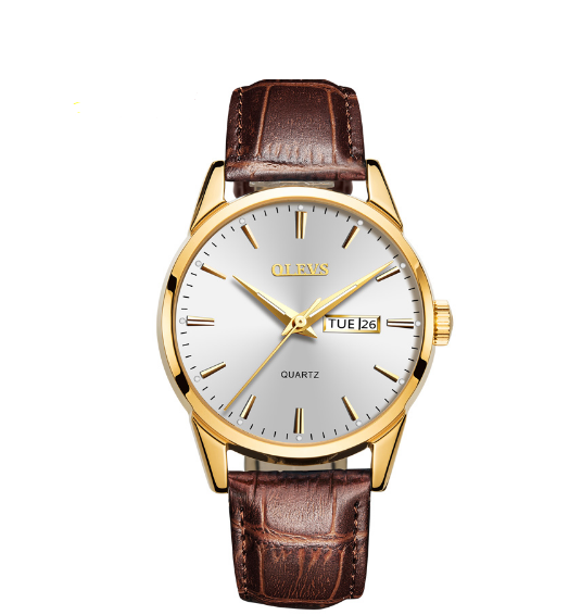 OLEVS Rose Gold Leather Watch