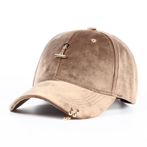 Suede Gold Pendant Snap-back