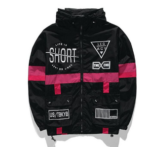 Life Is Short Wind-Breaker Black/Pink