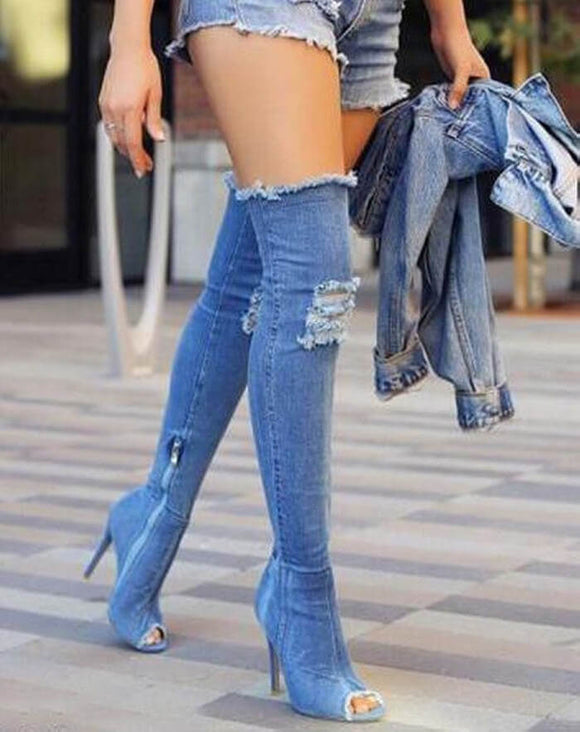 Women's Shoes Over The Knee Thigh High Open Toe Sexy Stiletto Heel Denim Boots