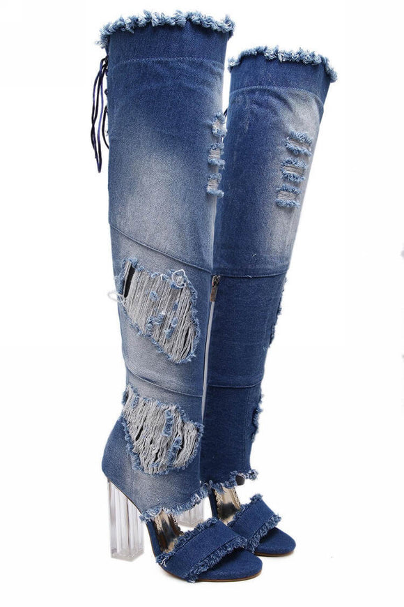 Women fashion Over Knee Back Lace-up Denim Boots
