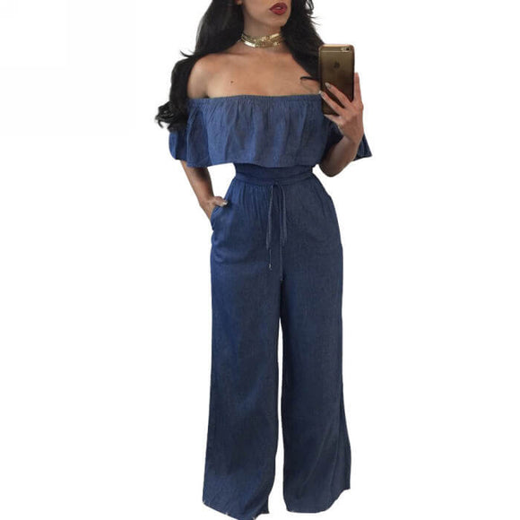 Women's Off Shoulder Ruffle Denim Jumpsuit Drawstring Long Romper