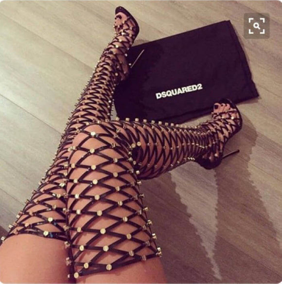 Women Lace Up long boots high thigh boots Sandals Party Shoes