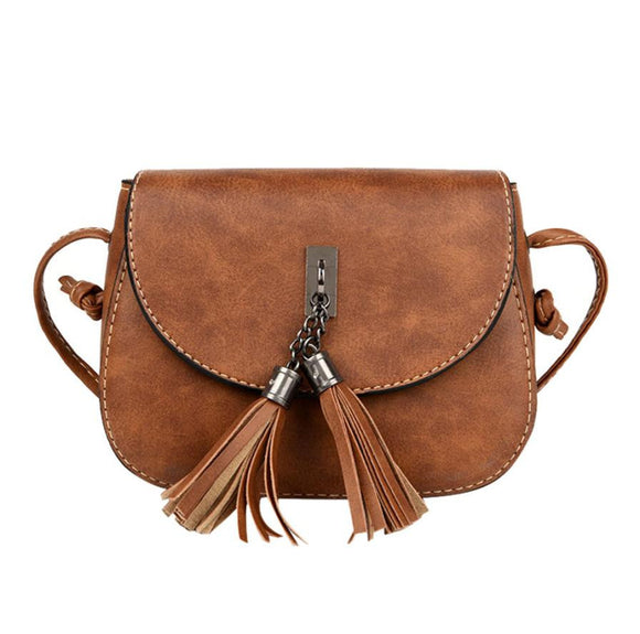 women's leather Tassel cross body handbag - Aprilsclosets