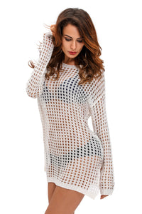 White Sexy Handmade Crochet Cover-up - Aprilsclosets