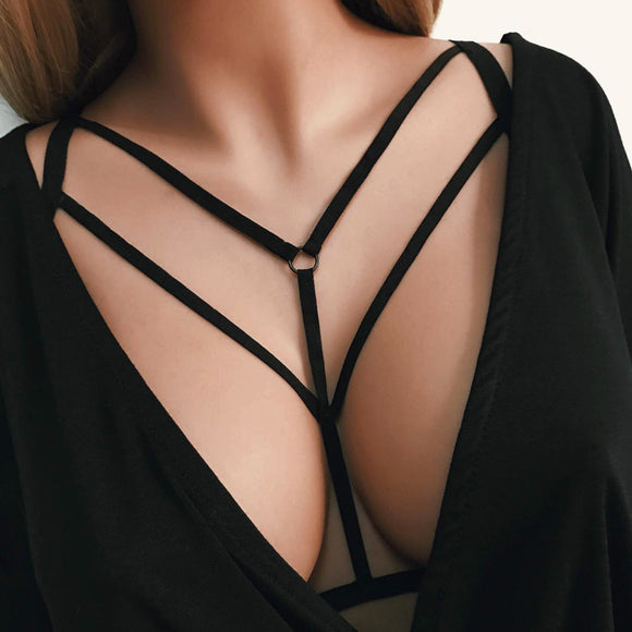 Women Sexy Fashion Ladies Halter Elastic Cage Sexy Strappy Bra Bustier - Aprilsclosets