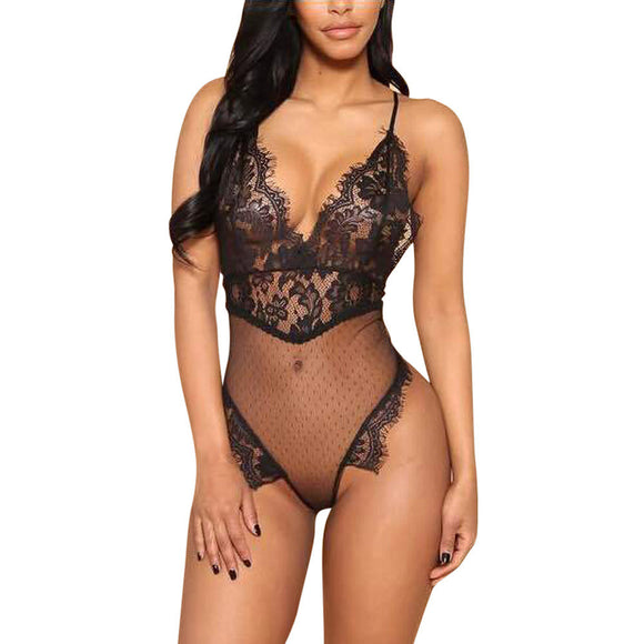 Women Lace G-string Briefs Panties Thongs Lingerie Rompers Underwear BK/L