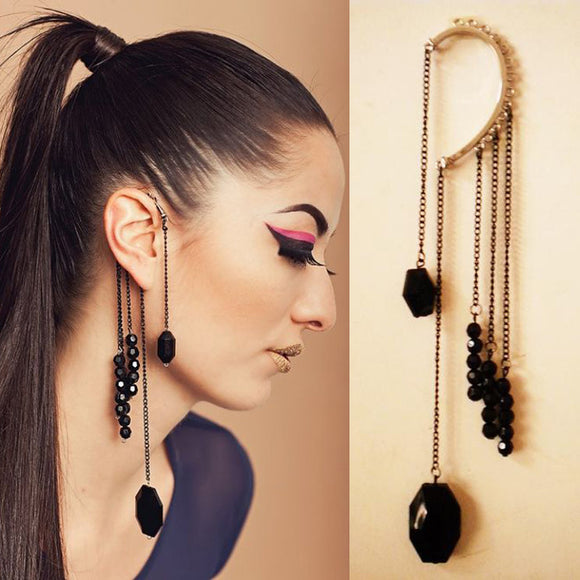 Women Ear Cuff Stud Earring Tassel - Aprilsclosets