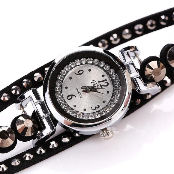 Women Luxury Crystal Women Gold Bracelet Quartz Wristwatch Rhinestone Watches - Aprilsclosets