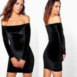 2017  New Women Dress Sexy Black Strapless Velvet Long Sleeve Casual Stitching Elegant body shapper Party Dresses S~XL