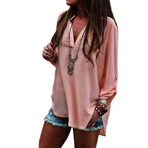 Maternity Blouse Women Sexy Chiffon V-neck Long Sleeve Loose Blouse Casual T Shirt Tops - Aprilsclosets