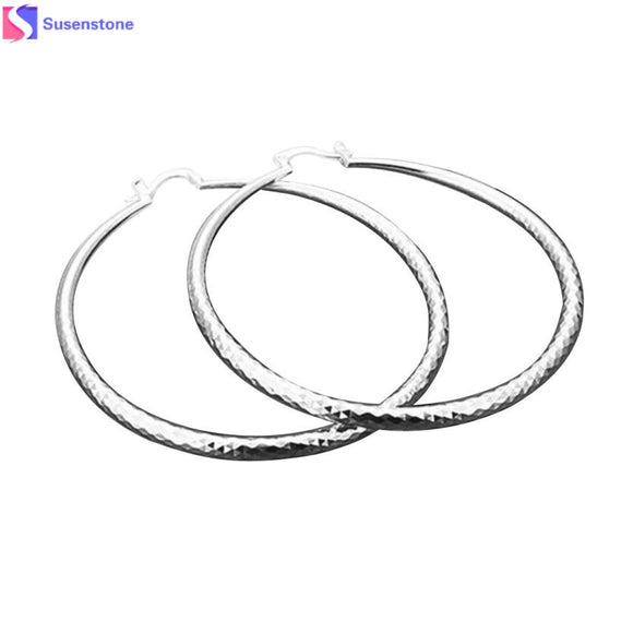 SUSENSTONE Fashion New Classic Design Solid Silver Big Hoop Earrings - Aprilsclosets