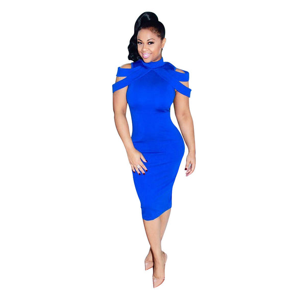 Fashion Women Sexy Bodycon Cocktail Party Dress Midi Dress - Aprilsclosets