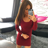 Women Fashion Sexy Solid Long Sleeve Slim Dress - Aprilsclosets