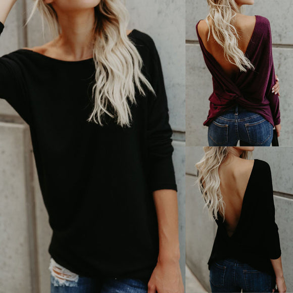 Womens Ladies Sexy Backless Blouses T-shirt Long Sleeve Tops - Aprilsclosets