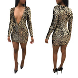 Womens Sexy Sequin dress V Neck Summer Party Short dresses