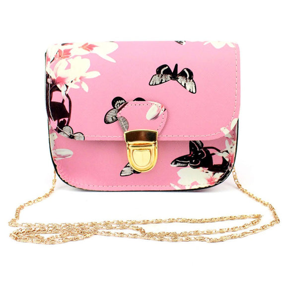 Women Butterfly Flower Printing Handbag Shoulder Bag Tote Messenger Bag - Aprilsclosets