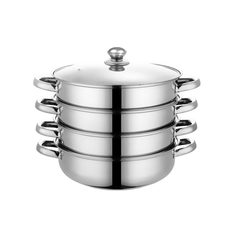 4 Tier Stainless Steel Steamer Meat Vegetable Cooking Steam Hot Pot Kitchen Tool (KT0192-1)