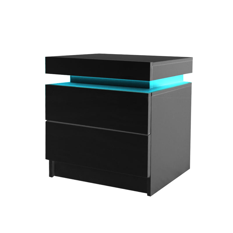 Levede Bedside Tables Drawers RGB LED Side Table High Gloss Nightstand Cabinet (FU6001-BK)