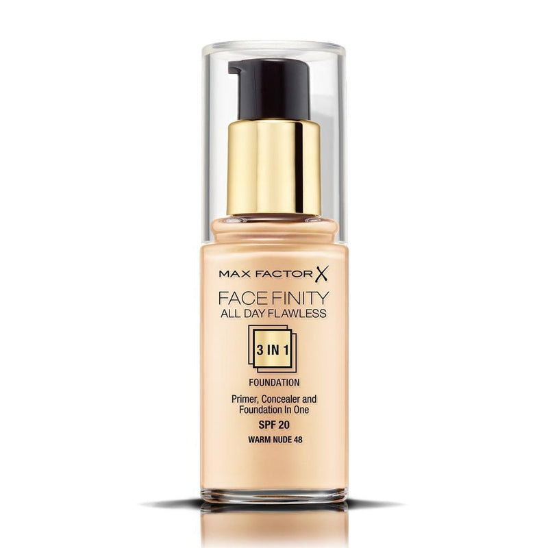 Max Factor 3 In 1 Flawless Facefinity Foundation - 48 Warm Nude-Max Factor-FACE-Foundation-NZOutlet