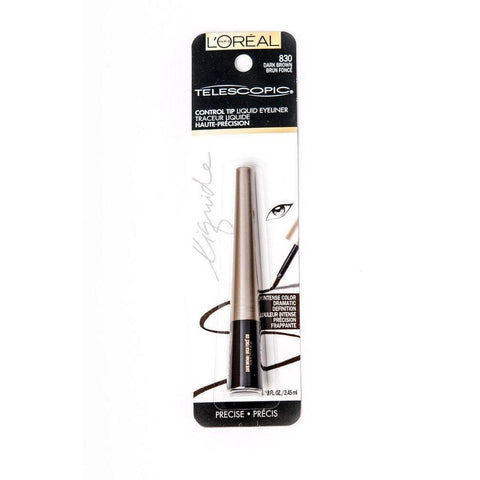 L'Oreal Paris Telescopic Precision Liquid Eyeliner - 830 Dark Brown-L'Oreal Paris-EYES-Eyeliner-NZOutlet