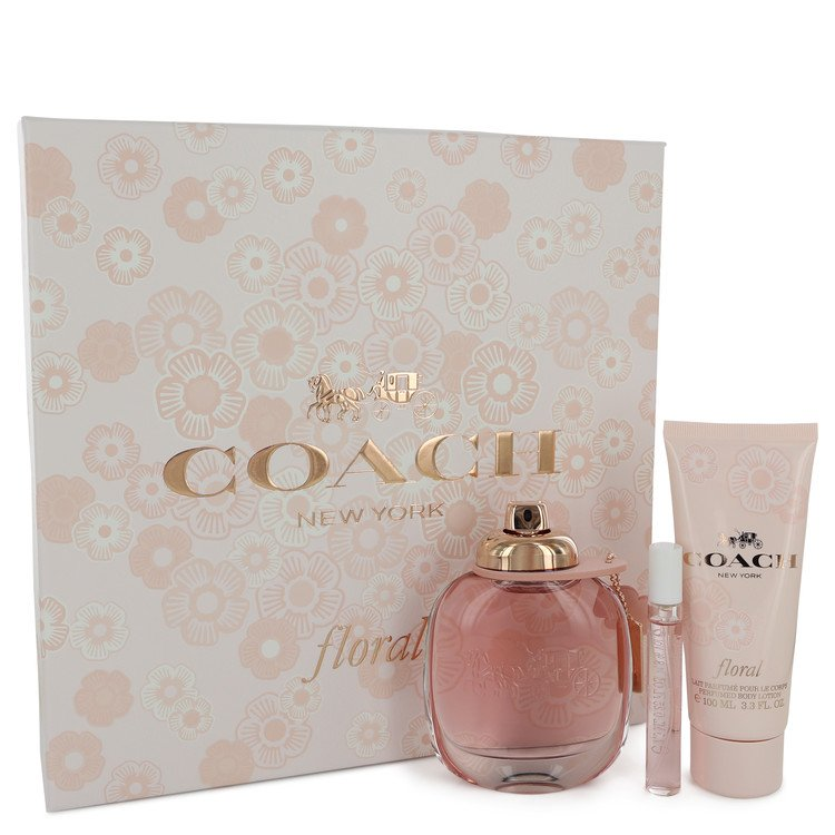 Coach Floral by Coach - Gift Set -- 3 oz Eau De Parfum Spray + .25 oz Mini EDP Spray + 3.3 oz Body Lotion (W)