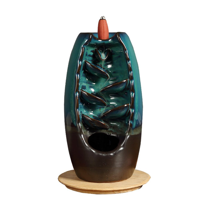 Incense Burner Mountain Waterfall Smoke Backflow Ceramic Cone Holder + 198 Cones (HD0049WITHCONE)