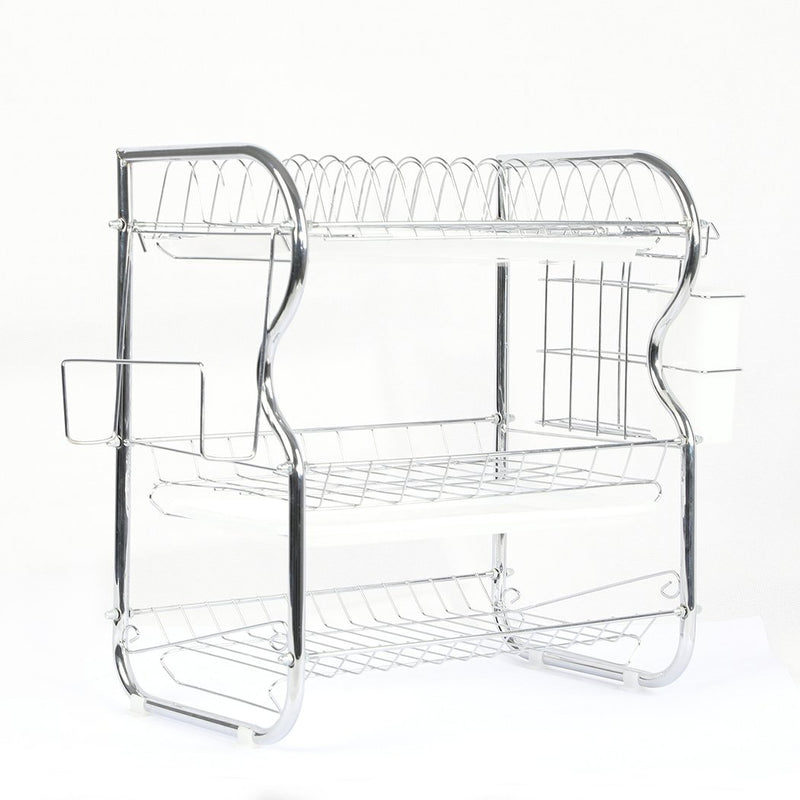 3 Tier Stainless Steel Dish Rack Drainer Tray Kitchen Storage Cup Cutlery Holder (KT0151)