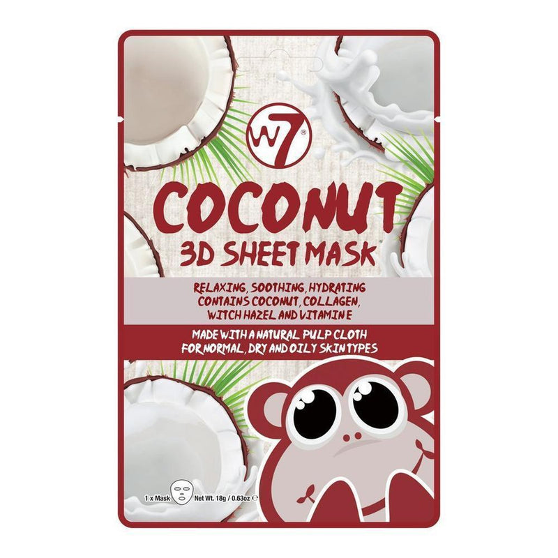 W7 Coconut 3D Sheet Mask-W7-SKIN-Face Mask-NZOutlet