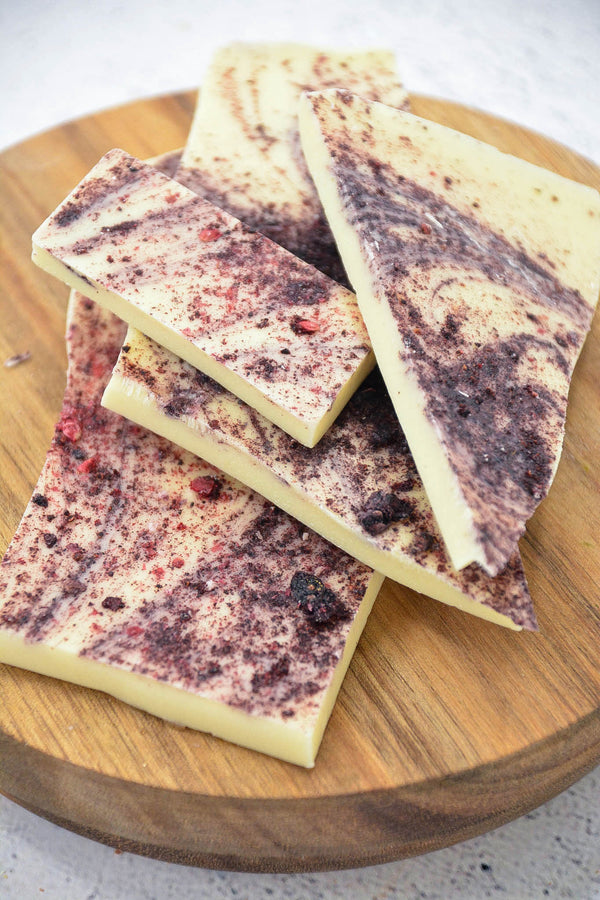 White Chocolate + Blackberry Bark 100g