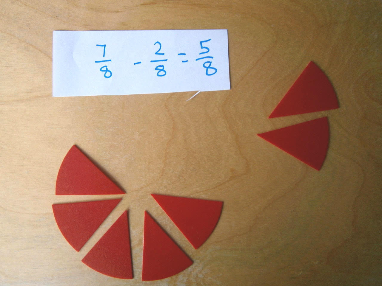 Subtracting fractions with Montessori